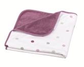 Deltababy Filt, Pink/Vit med grå/rosa prick