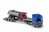 Scania low loader med tipplastbil, Blå