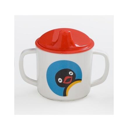 Pingu Pipmugg med spillsäkert lock, Röd