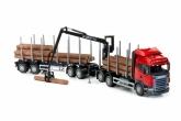 Scania timmerlastbil m kabinkran, Röd