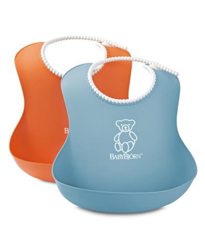 BabyBjörn Mjuk Haklapp 2-Pack Orange/Turkos