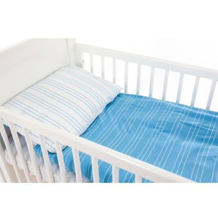 Babygreen Bäddset Jersey, Blå/Vit randig
