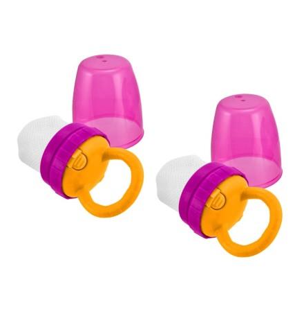Teething feeder 2 pk + 2 bags, Rosa