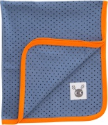 Färg & Form Skummis Bomullsfilt, Blå/Orange, Eko
