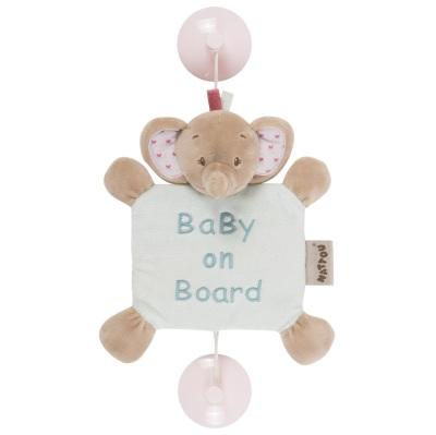 Nattou Baby on Board Rose Elefant