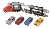 Biltransport med fyra bilar, Röd