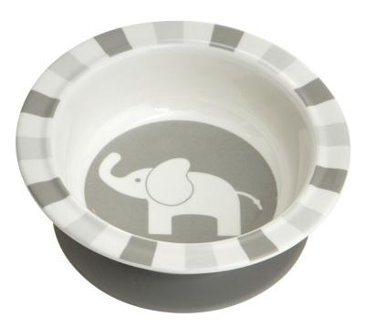 Elefant Sugkoppstallrik, Grå