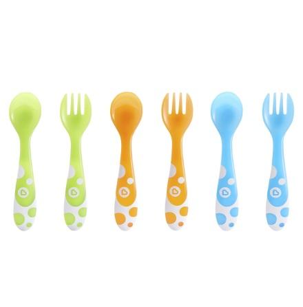 Munchkin 6-pack gaffel och sked i blandade färger