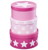 Pappboxar Runda 3 st Star Rosa