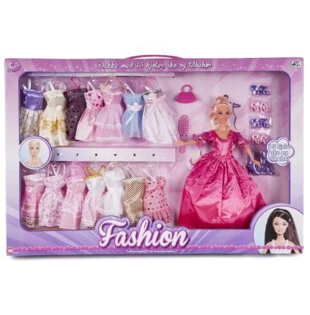 Judith Fashion med 15 klänningar och tillbehör, Mörkrosa