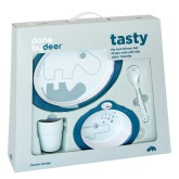 Done By Deer Contour Dinner Set, Dark Blue
