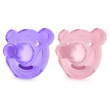 Philips Avent Soothie Shapes Napp, 3-18 mån, 2-pack, rosa/lila