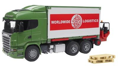 Bruder Scania R-Series Containerbil med truck och 2 pallar