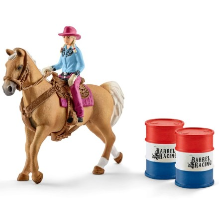 """Schleich """"Barrel racing"""" med cowboyflicka"""
