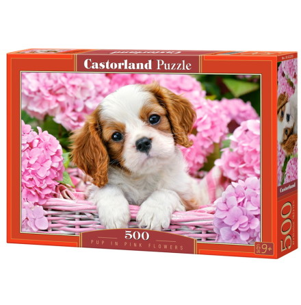 Pup in Pink Flowers, Pussel, 500 bitar
