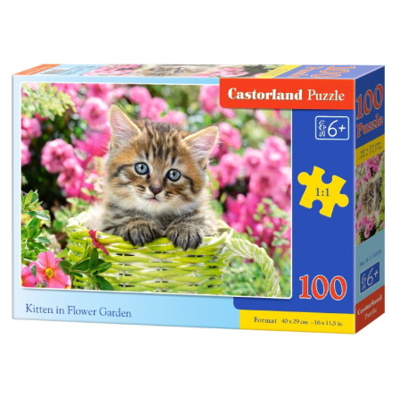 Kitten in Flower Garden, Pussel, 100 bitar