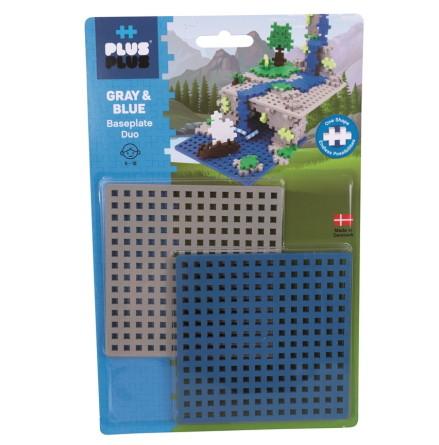 Plus Plus Byggplattor Blå/Grå, 2-pack