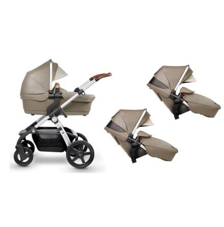 Silver Cross Wave barnvagn för 1 eller 2 barn, Linen + Extra sittdel