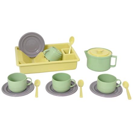 Plasto Kaffeservis för 4, Grön/Gul/Grå, ECO