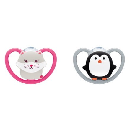 NUK Pacifier Space Silicon Limited Edition Monochrome Stl3, Rosa/Grå