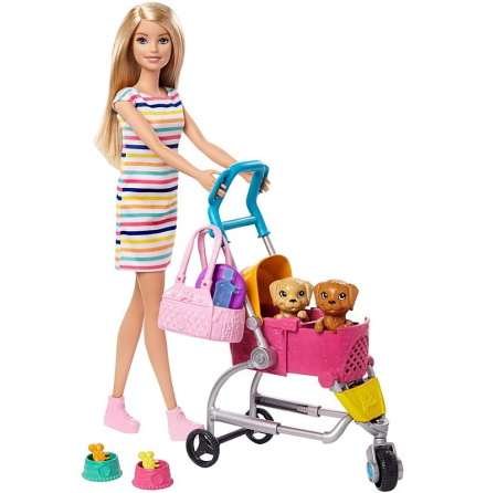 Barbie Stroll n Play Pups Doll and Accessories