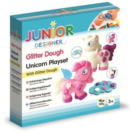 Junior Designer Enhörnings Lekpaket med glitter leklera