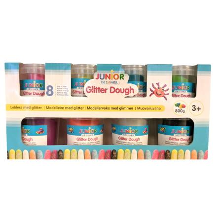 Junior Designer Leklera med Glitter, 8-Pack