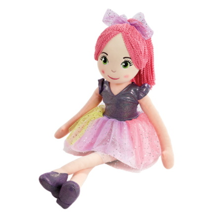 Snuggle Buddies Sparkle Rag Doll 70cm, Pink Hair