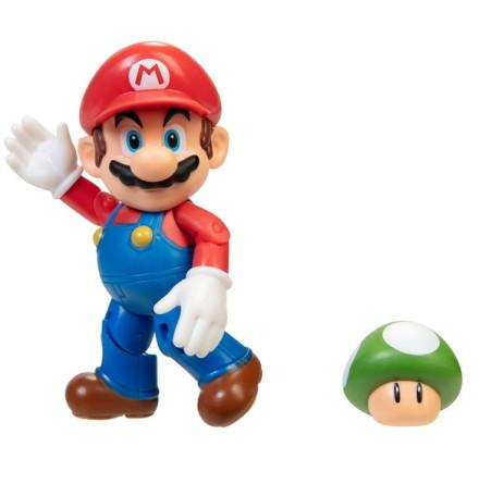 Mario med 1-Up Svamp, 10cm, Super Mario Figur