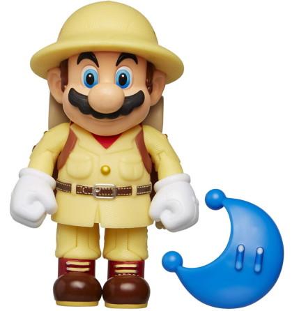 Utforskar Mario med blå Power Måne, 10cm, Super Mario Figur