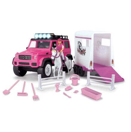 Dickie Toys Jeep med Hästsläp, Rosa