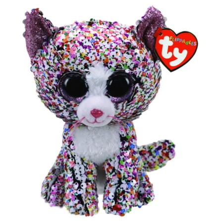 TY Flippables Confetti Flerfärgad Paljett Katt, Regular 15cm