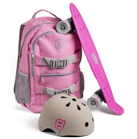 Ryggsäck med skateboard och hjälm rosa