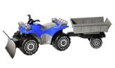 Fyrhjuling med släp och schaktblad, Blå